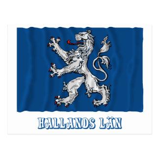 Hallands län waving flag with name postcard