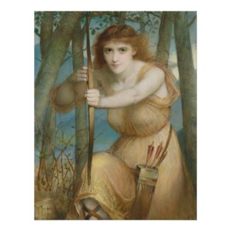 Hallé Female archer hunting in the woods Poster