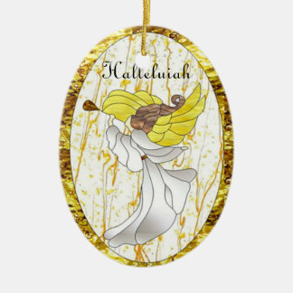 Halleluiah Angel in Stained Glass Ceramic Oval Decoration