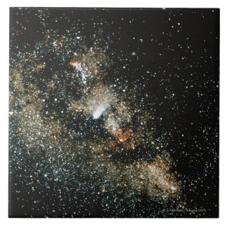 Halleys Comet  in the Milky Way Large Square Tile