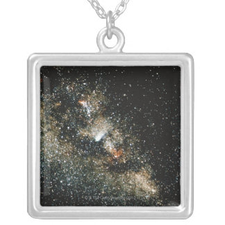 Halleys Comet  in the Milky Way Square Pendant Necklace