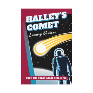 Halleys Comet Luxury Cruises Retro Sci-Fi Stretched Canvas Print