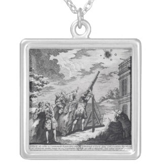 Halley's Comet Observed in 1759 by Cassini III Square Pendant Necklace