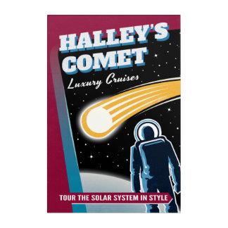 Halleys Comet Retro Futurist Travel Illustration Acrylic Wall Art