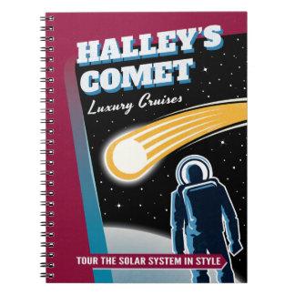Halleys Comet Retro Sci-Fi Illustration Spiral Note Book