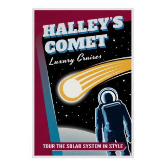 Halleys Comet Retro Space Tourist Poster