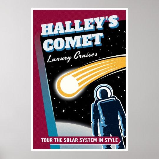 Halleys Comet Retro Space Tourist Poster