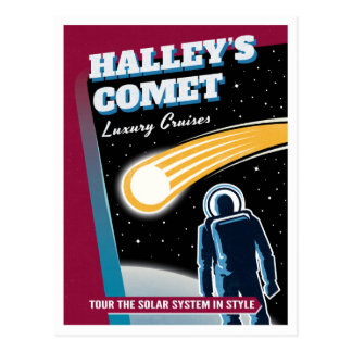 Halleys Comet Space Travel Illustration Postcard