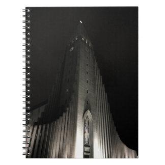 Hallgrimskirkja church at night notebook