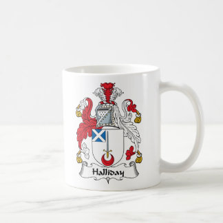 Halliday Family Crest Classic White Coffee Mug