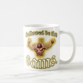 """Hallowed be thy Gains"" Muscle Jesus Coffee Mug"