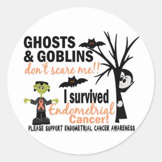 Halloween 1 Endometrial Cancer Survivor Round Sticker