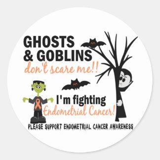 Halloween 1 Endometrial Cancer Warrior Round Sticker