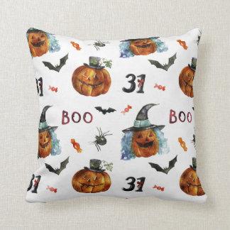 Halloween - 31 Pumpkins  & Bats Watercolors Cushion
