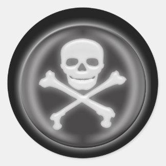 Halloween 3D Skull and Cross-bones Round Stickers