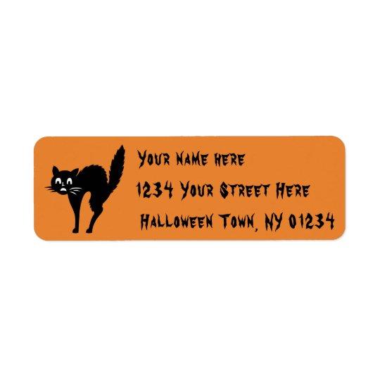 Halloween Address Label Scaredy Black Kitty Cat