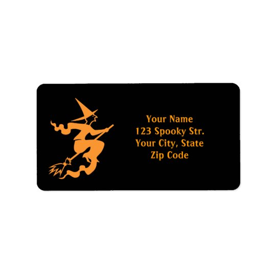Halloween address labels | witch on broom