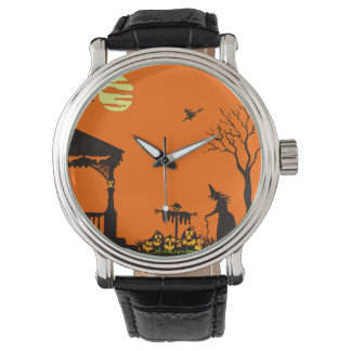 Halloween,adult,watch,silhouette,witch,haunted Wristwatches