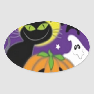Halloween art design oval sticker