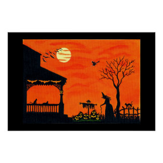Halloween Art Poster,witches,scarecrow,skull, Poster