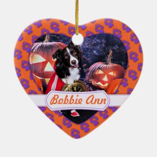 Halloween - Aussie - Bobbie Ann Ceramic Heart Decoration