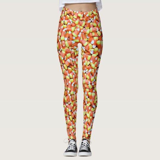 Halloween Autumn Candy Corn Leggings Orange