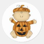 Halloween baby pumpkin round sticker