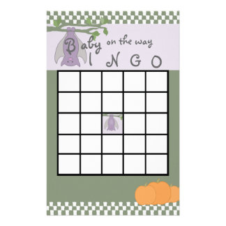 Halloween Baby Shower Bingo Stationery