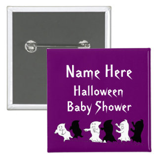 Halloween Baby Shower Ghost Buttons - Purple