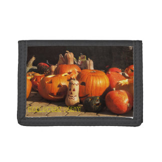 halloween background tri-fold wallet