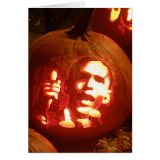 Halloween Barack Obama Pumpkin Postage Card