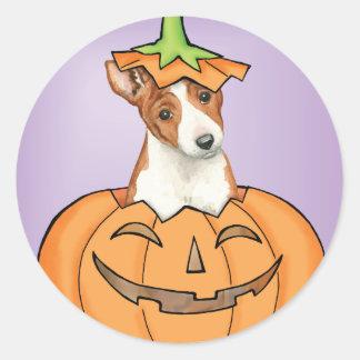 Halloween Basenji Classic Round Sticker