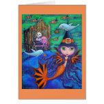 Halloween Bat Mermaid Witch Dolphins Octopus Organ Greeting Card