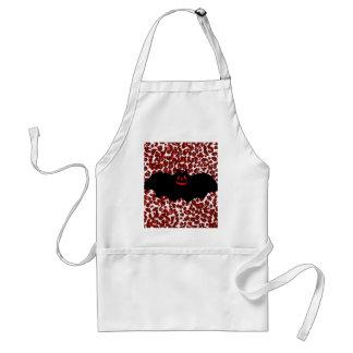 Halloween Bat On Red Leopard Spots Standard Apron