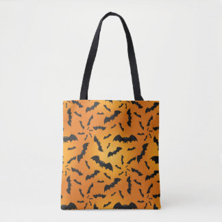 Halloween Bat Orange Tote Bag