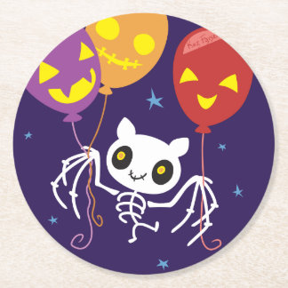 Halloween Bat Skeleton Flying With Balloons Round Paper Coaster