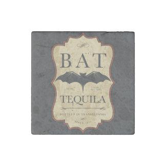 Halloween Bat Tequila Vintage Label Stone Magnet