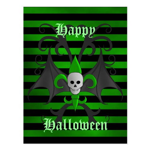 Halloween bat winged skull fleur de lis green post card