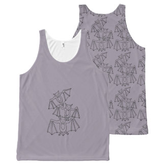Halloween Bats Black Line Art Design All-Over Print Tank Top