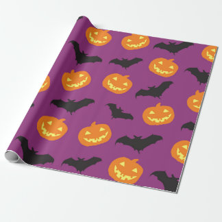 Halloween Bats & Carved Pumpkins on Purple Wrapping Paper