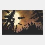 Halloween Bats, Castle and Moon Rectangle Sticker
