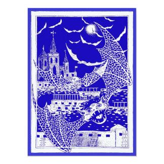 Halloween Bats Castle Invitation