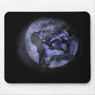 Halloween Bats Flying on a Full Moon Night Mouse Pad