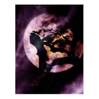 Halloween Bats Flying on a Full Moon Night Postcard