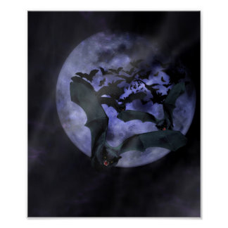Halloween Bats on a Full Moon Night Poster