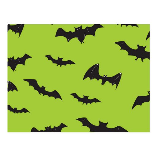 Halloween Bats on Lime Green Post Cards
