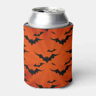 Halloween Bats on Orange Background Can Cooler