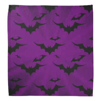 Halloween Bats on Purple Background Bandana