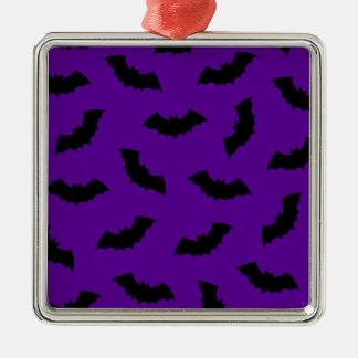 Halloween Bats Silver-Colored Square Decoration