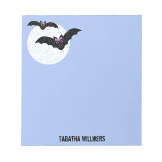 Halloween Bats with Moon Personalized 5.5 x 6 Notepad